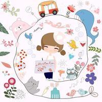 Desenho de menina bonito artista dos desenhos animados vetor