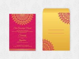 Vetor de cartão de casamento hindu decorativo