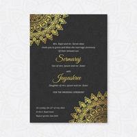 Modelo de cartão de casamento hindu de luxo vetor