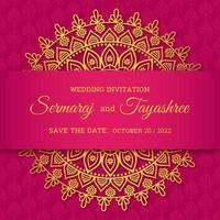 Vetor de cartão de casamento hindu mandala