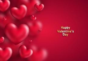 Muitos corações no vermelho vetor