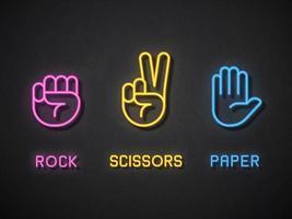 rock paper scissors neon icons vetor