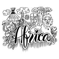 Símbolos desenhados à mão da África vetor