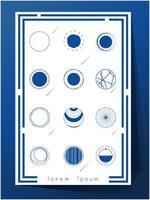 Conjunto de ícones de exploração de espaço de cor azul e branco vetor