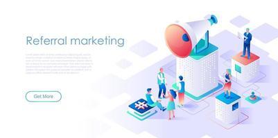 Modelo de vetor de página de destino isométrica de marketing de referência