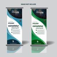 design de banner vertical promocional com design curvo vetor