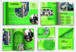 conjunto de modelo de folheto de design arredondado verde vetor