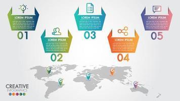 Mapa do mundo negócios infográficos 5 opções de passo vetor