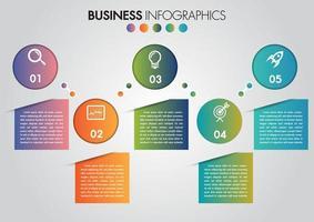 Infografia de negócios círculo cronograma de 5 etapas com espaço de cópia vetor