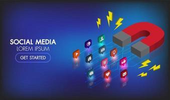 Mídia social marketing isométrica web banner ímã marketing publicidade vetor