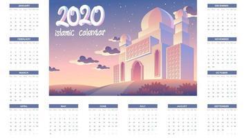 Calendário islâmico 2020 com mesquita e pôr do sol à noite vetor