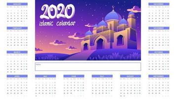 Calendário islâmico 2020 com mesquita dourada à noite vetor