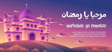 Marhaban Ya Ramadan com uma magnífica mesquita ao entardecer vetor