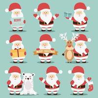 Coleção de caráter de Papai Noel vetor