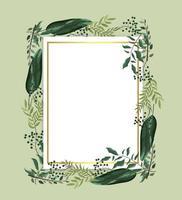 cartão com plantas exóticas e folhas de galhos
