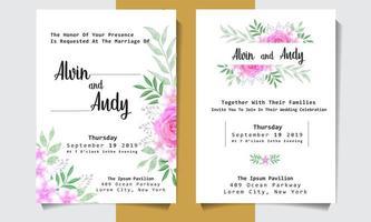 cartão de convite de casamento em aquarela com rosas rosa