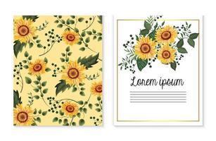 conjunto de cartão com girassóis plantas e ramos de folhas