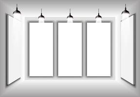 Vetor de ilustração 3d interior simples, maquete para seu gradiente de marca cinza, fyler, cartaz