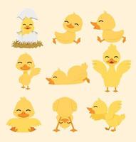 Conjunto de desenhos animados de pato amarelo bonito vetor
