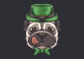 Projeto do dia de São Patrício da cabeça de cão do Pug vetor