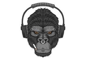 Design de cigarro de fone de ouvido gorila vetor