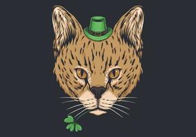 Projeto do dia de St Patrick do gato selvagem vetor
