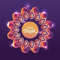 festival de diwali com mandala de flores e luzes vetor