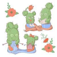 Conjunto de desenhos animados de catus mãe e filha