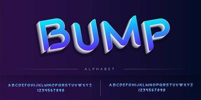 Conjunto de estilo 3D alfabeto azul vetor