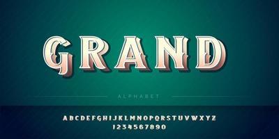 Conjunto de alfabeto 3D retrô e estilo real vetor