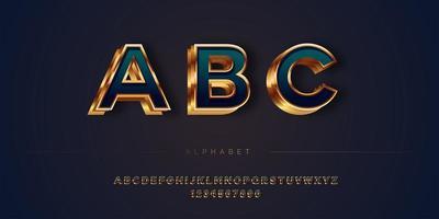 Conjunto de alfabeto abstrato estilo dourado em camadas de luxo vetor