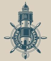 Emblema náutica vintage com um farol na roda do navio