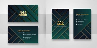 Modelo de Cartão-de-visita - abstratos verde linha ouro e vetor