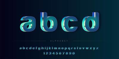 Conjunto de alfabeto 3D abstrato azul tema vetor