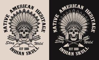 Ilustração com uma caveira nativa americana em cocar de penas vetor