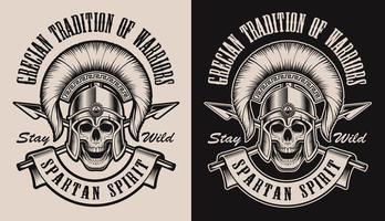 Conjunto de ilustrações com uma caveira no capacete espartano vetor