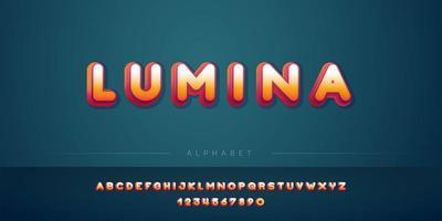 Conjunto de alfabeto 3D laranja vermelho em negrito vetor