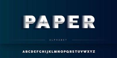 Conjunto de alfabeto de corte de papel branco vetor