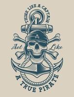 Ilustração de uma caveira pirata com âncora vintage
