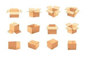 Conjunto de caixas de papelão vetor