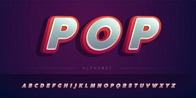 Conjunto de alfabeto 3D vermelho e cinza em camadas vetor