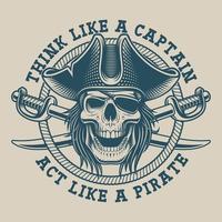 Design de camiseta com caveira pirata e sabre