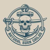 Design de camiseta com uma caveira, sabre e âncora em estilo vintage