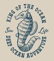 Emblema náutica vintage com um cavalo marinho vetor
