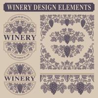 Conjunto de elementos de design vintage para vinícola vetor