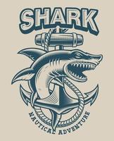 Ilustração de um tubarão com âncora em estilo vintage vetor