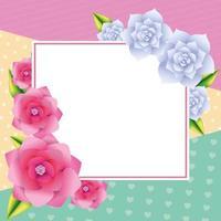 Moldura de cartão em branco floral vetor