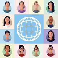 conjunto de desenhos animados de rostos de pessoas