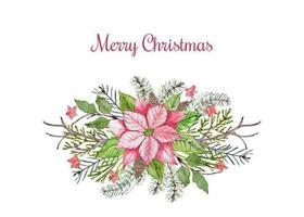 Arranjo de poinsétia floral de feliz Natal vetor
