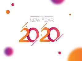 Feliz ano novo 2020 com design de texto diagonal e esferas vetor